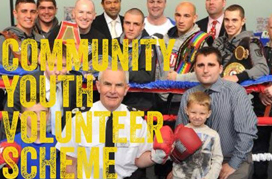 Photo of boxing ring with text that reads: Community Youth Volunteer Scheme