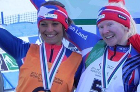 The London to Sochi Ski Runners - Photo of Charlotte Evans and Kelly Gallagher