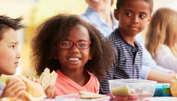 Children eating healthy meal